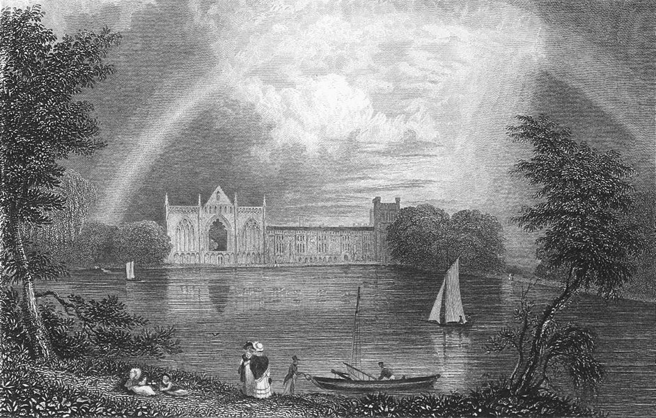 Associate Product NOTTS. Newstead Abbey. Fullarton lake boats-Finden 1850 old antique print