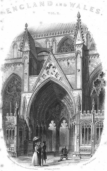 LINCS. Lincoln cathedral south entry 1836 old antique vintage print picture