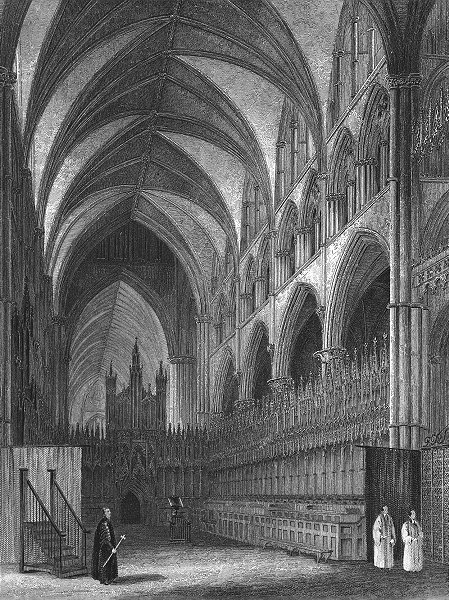 Associate Product LINCS. Lincoln cathedral Choir 1836 old antique vintage print picture