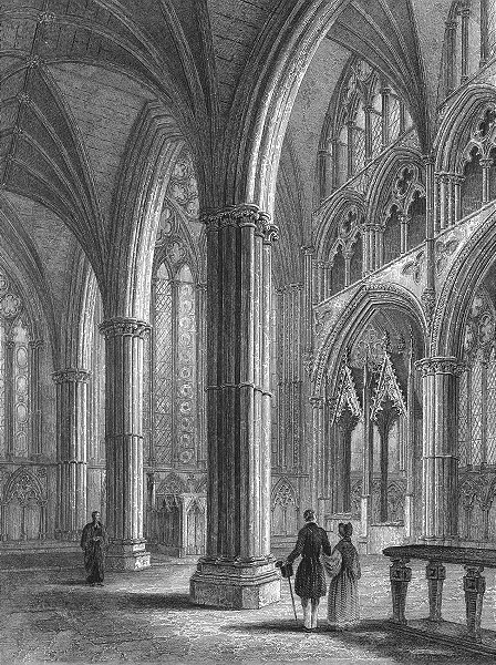 Associate Product LINCS. Lincoln cathedral Chancel 1836 old antique vintage print picture