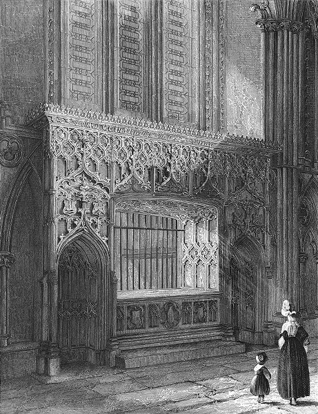 Associate Product LINCOLN. cathedral Bishop Longland's monument 1836 old antique print picture