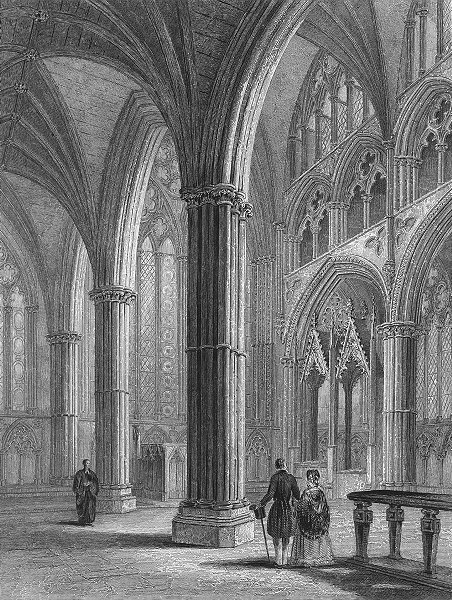 Associate Product LINCS. Lincoln cathedral Chancel 1860 old antique vintage print picture