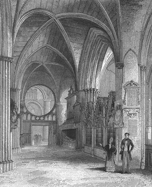 Associate Product OXON. Oxford cathedral North Aisle of Choir 1860 old antique print picture
