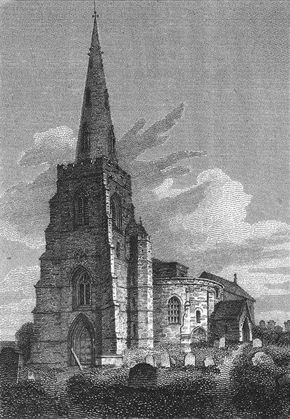 Associate Product NORTHANTS. SW St Sepulchre's Church, Northampton 1808 old antique print