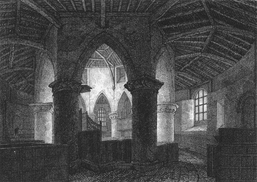 NORTHANTS. St Sepulchre's Church, Northampton 1808 old antique print picture