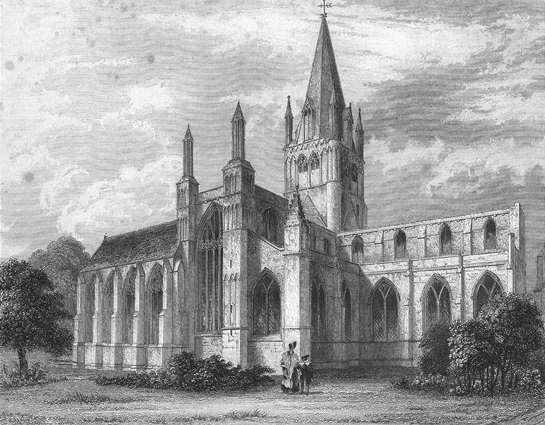 Associate Product OXON. Oxford cathedral NW view 1837 old antique vintage print picture