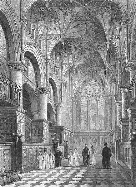 Associate Product OXON. Oxford cathedral Choir 1837 old antique vintage print picture