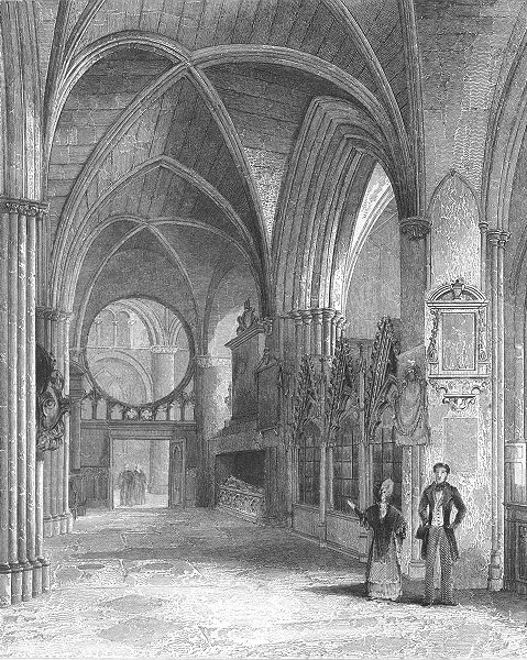 Associate Product OXON. Oxford cathedral North Aisle of Choir 1837 old antique print picture