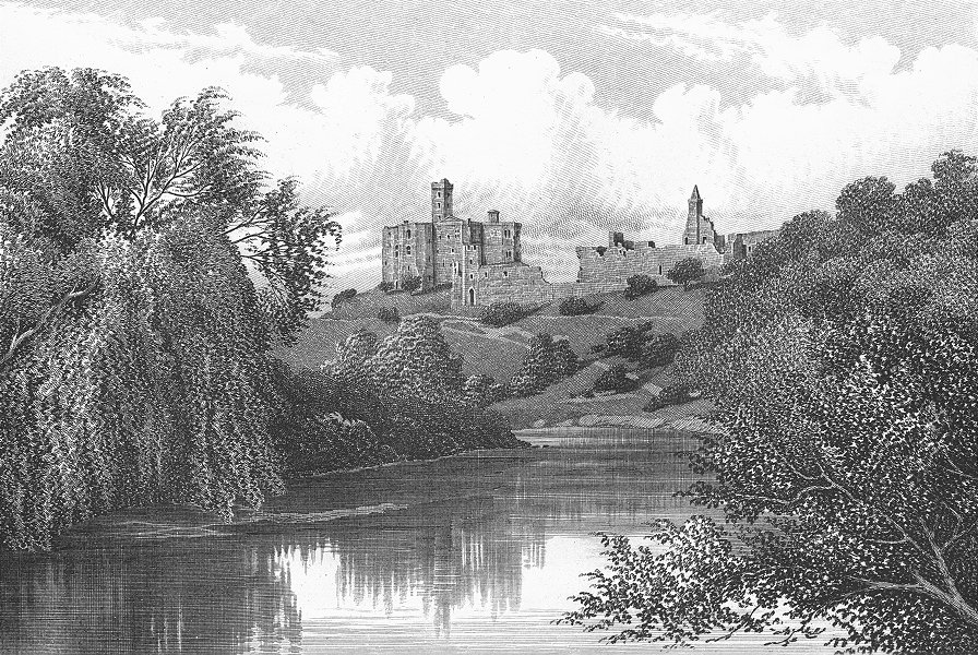 Associate Product NORTHUMBS. Warkworth Castle. Barbner sepia 1895 old antique print picture