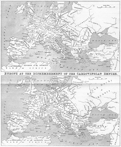 Associate Product EUROPE. Empire Charlemagne; Carlovingian c1850 old antique map plan chart