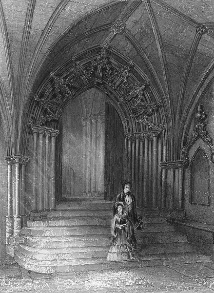 Associate Product NORFOLK. Norwich cathedral entry to Cloisters 1860 old antique print picture