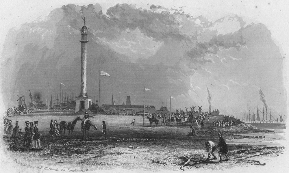NORFOLK. Yarmouth. Harwood 1841 old antique vintage print picture