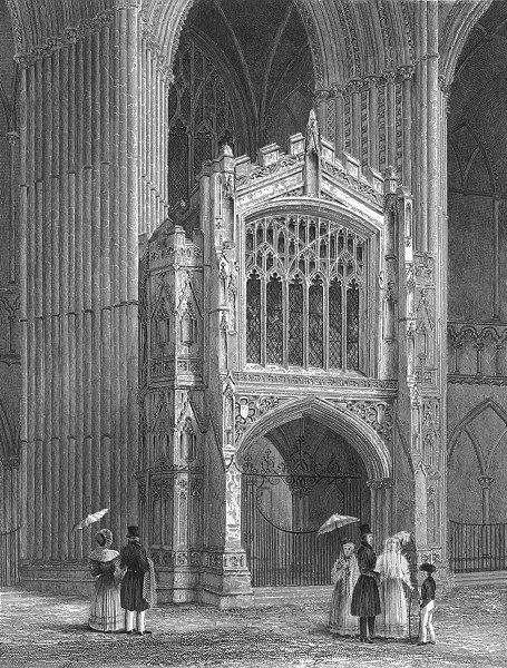 Associate Product CAMBS. Peterborough cathedral Porch west end 1851 old antique print picture