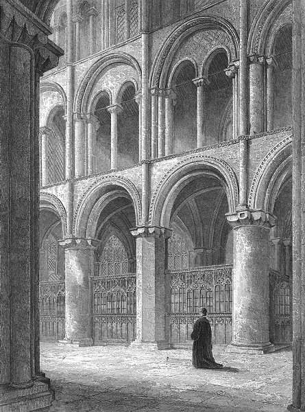 Associate Product CAMBS. Peterborough cathedral view North transept 1851 old antique print