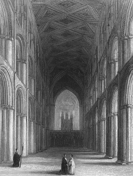 Associate Product CAMBS. Peterborough cathedral nave 1850 old antique vintage print picture