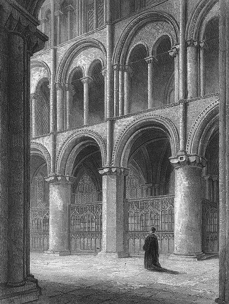 Associate Product CAMBS. Peterborough cathedral view North transept 1850 old antique print