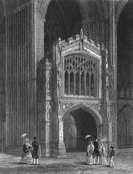 Associate Product CAMBS. Peterborough cathedral Porch west end 1850 old antique print picture