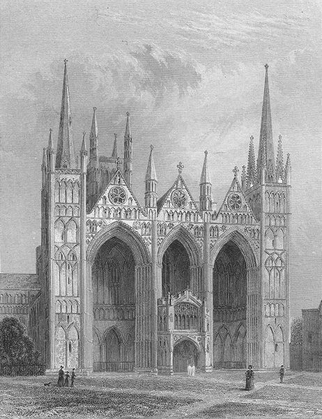 Associate Product CAMBS. Peterborough cathedral 1860 old antique vintage print picture