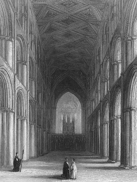 Associate Product CAMBS. Peterborough cathedral nave 1860 old antique vintage print picture