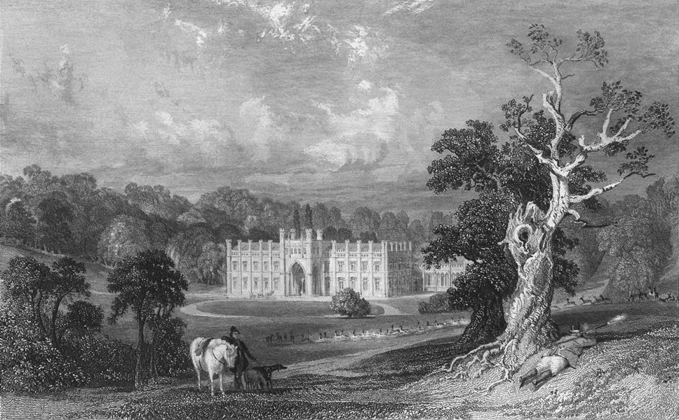 Associate Product LEICS. Donnington Hall, Leicestershire. Allom 1836 old antique print picture