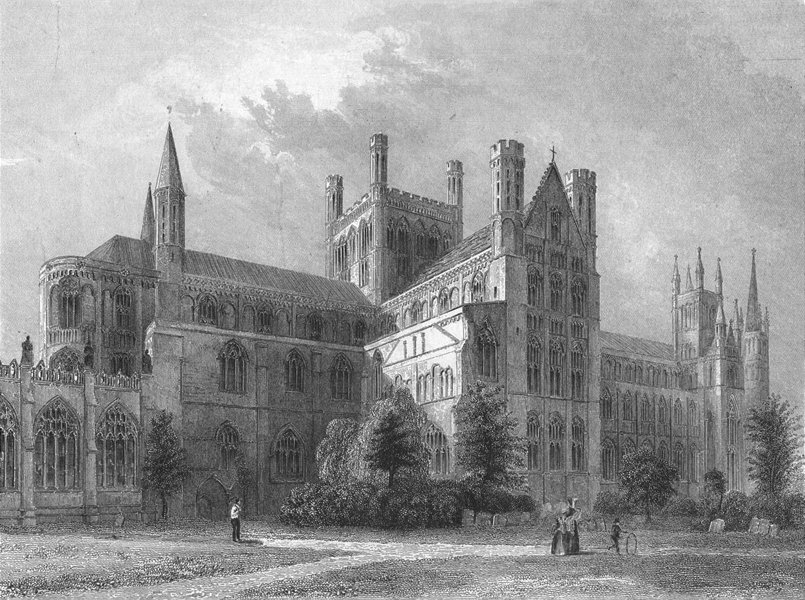 Associate Product CAMBS. Peterborough cathedral NE view 1836 old antique vintage print picture
