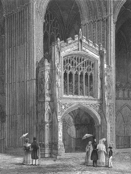 Associate Product CAMBS. Peterborough cathedral Porch west end 1836 old antique print picture