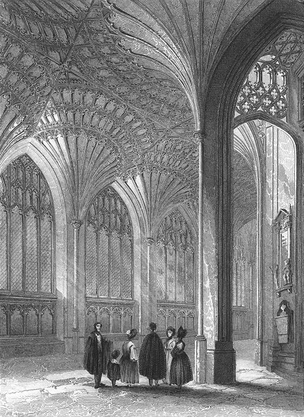 CAMBS. Peterborough cathedral lady chapel 1836 old antique print picture
