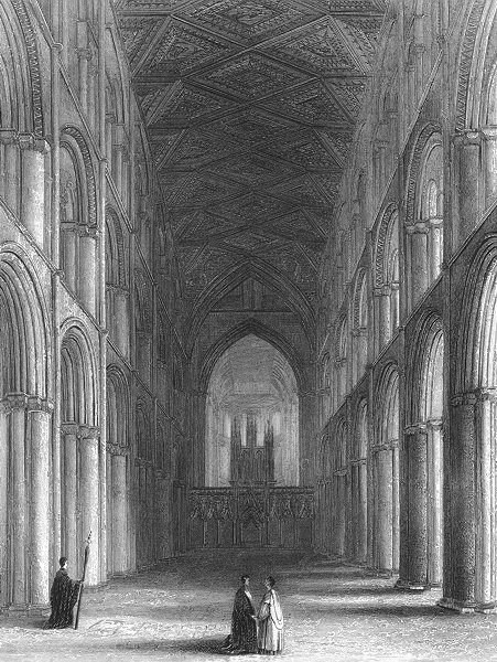 Associate Product CAMBS. Peterborough cathedral nave 1836 old antique vintage print picture