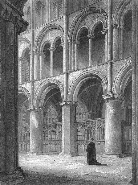 Associate Product CAMBS. Peterborough cathedral view North transept 1836 old antique print