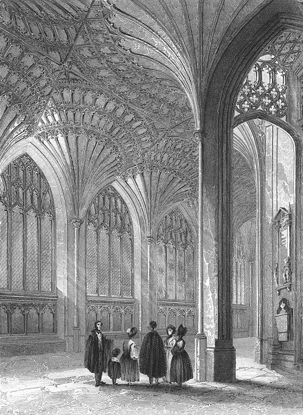 Associate Product CAMBS. Peterborough cathedral lady chapel 1836 old antique print picture
