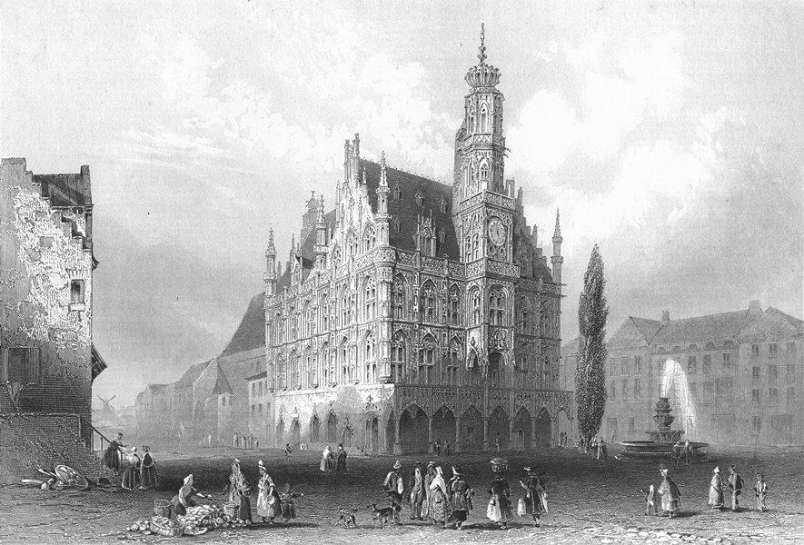 BELGIUM. Hotel de Ville Audenard. Oudenarde. Payne 1847 old antique print