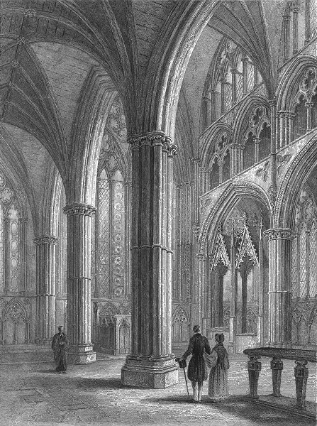 LINCS. Lincoln cathedral Chancel 1851 old antique vintage print picture