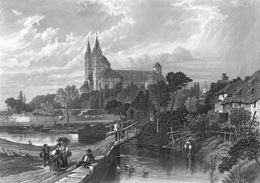 Associate Product GERMANY. Spires. Speier. Birket Foster cathedral 1860 old antique print