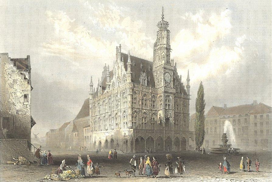 Associate Product BELGIUM. Hotel de Ville(Audenard). Oudenarde. Payne 1847 old antique print