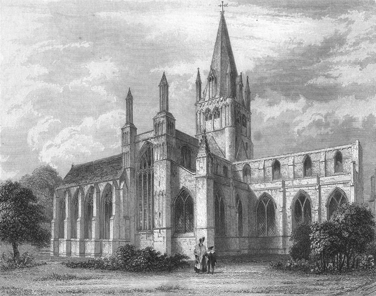 Associate Product OXON. Oxford cathedral NW view 1836 old antique vintage print picture