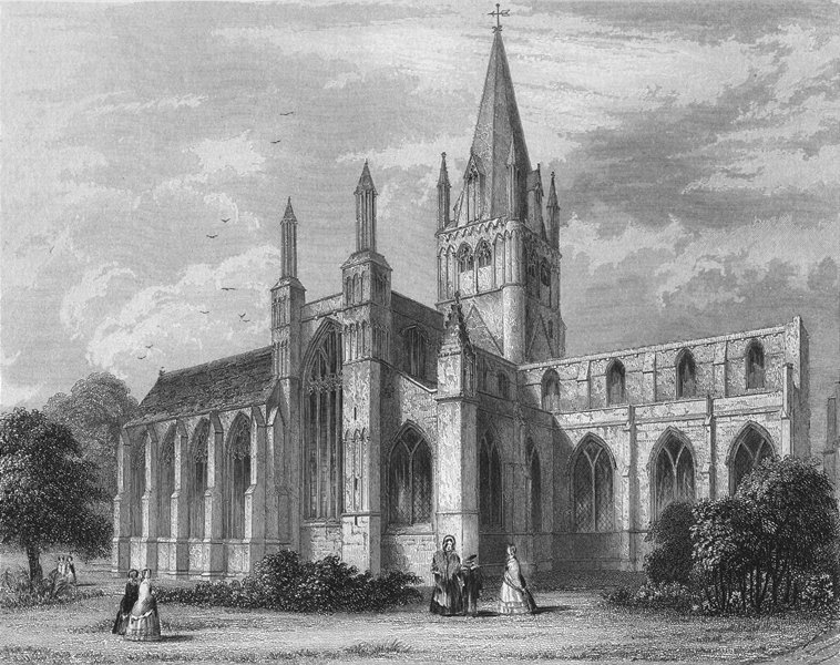 Associate Product OXON. Oxford cathedral NW view 1850 old antique vintage print picture