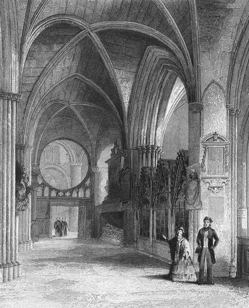 Associate Product OXON. Oxford cathedral North Aisle of Choir 1850 old antique print picture