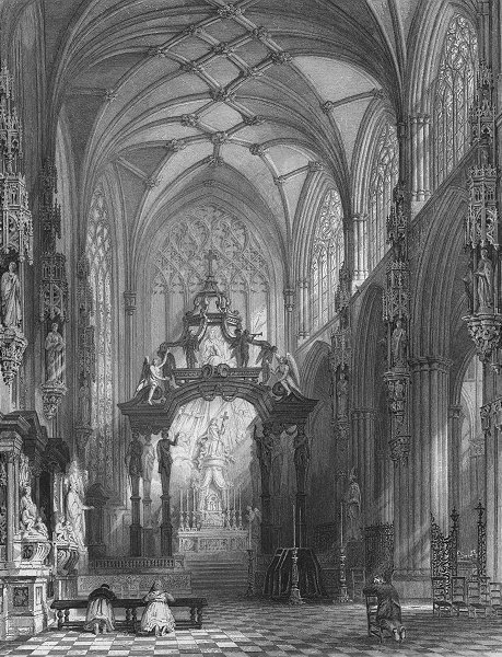 Associate Product BELGIUM. Chapel of St Gudule, Brussels. Wright 1840 old antique print picture