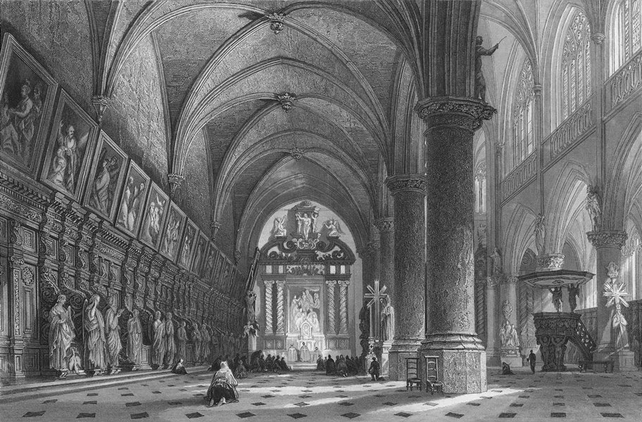 Associate Product BELGIUM. Church St Paul's, Antwerp. Wright 1840 old antique print picture