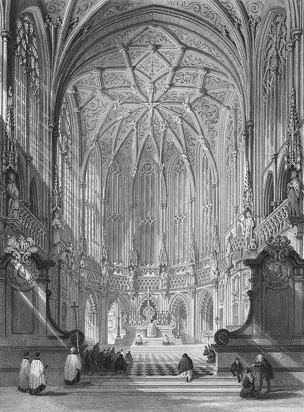 Associate Product BELGIUM. Church St James, Liège. Wright 1840 old antique vintage print picture