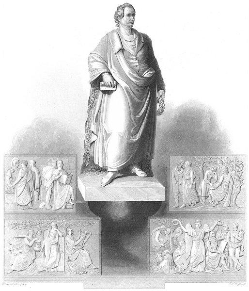 Associate Product GERMANY. Gothe, monument in Frankfurt. Goethe. Payne 1847 old antique print