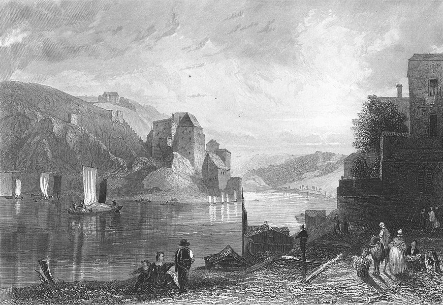 Associate Product GERMANY. Fort Niederhaus Passau. Payne river 1847 old antique print picture