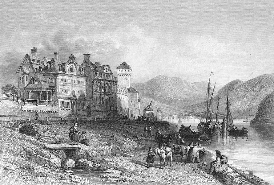 Associate Product GERMANY. Boppard, Rhine. Wright Good 'busy' 1841 old antique print picture