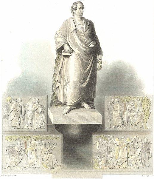 Associate Product GERMANY. Gothe monument in Frankfurt. Goethe. Payne 1847 old antique print