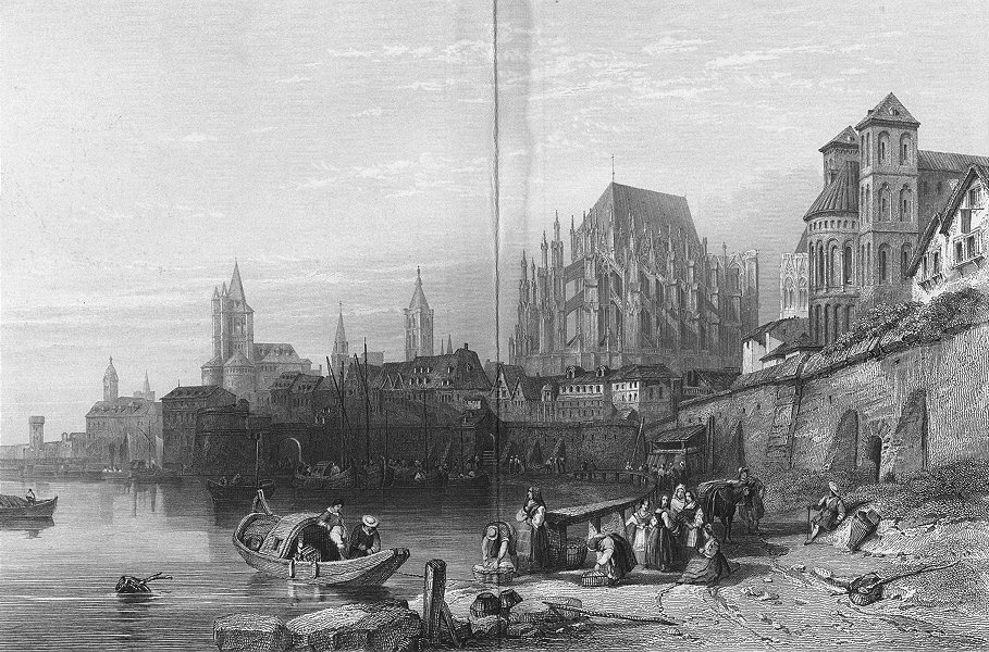 Associate Product GERMANY. Cologne, Rhine. Leitch 1845 old antique vintage print picture
