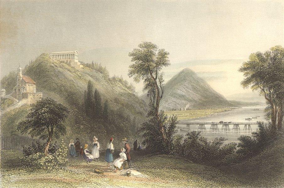 Associate Product GERMANY. Walhalla, Ratisbon. Bartlett bridge Trees  1842 old antique print