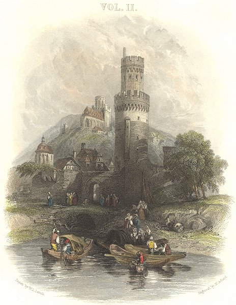 Associate Product GERMANY. Round Tower, Oberwesel. Oberwesl 1840 old antique print picture