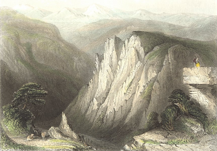 GERMANY. Student's Cliff, Hertz Mtns. Payne couple 1847 old antique print