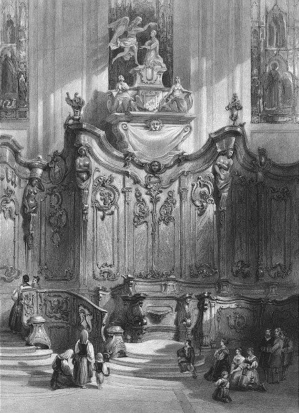 GERMANY. Screen in Mainz cathedral, Rhine. Wright 1841 old antique print