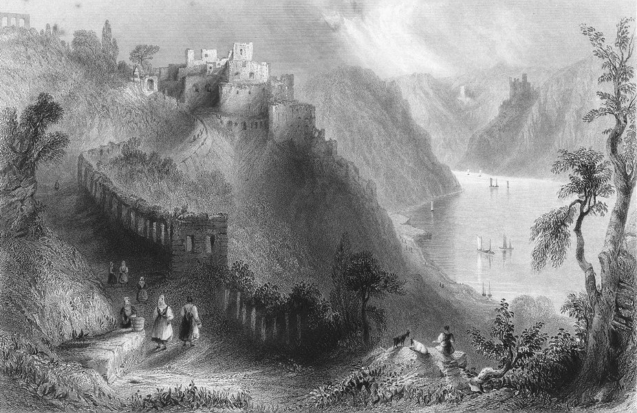 Associate Product RHEINFELS. above St Goar, Rhine. Wright-Bartlett 1841 old antique print